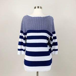 Karen Scott - 100% Cotton Striped Sweater Size 2X